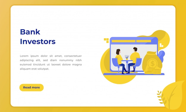 Bank investors, illustration with the theme of the banking industry for landing page