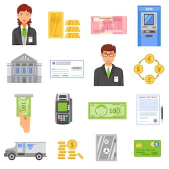 Банк изолированные цветные иконки