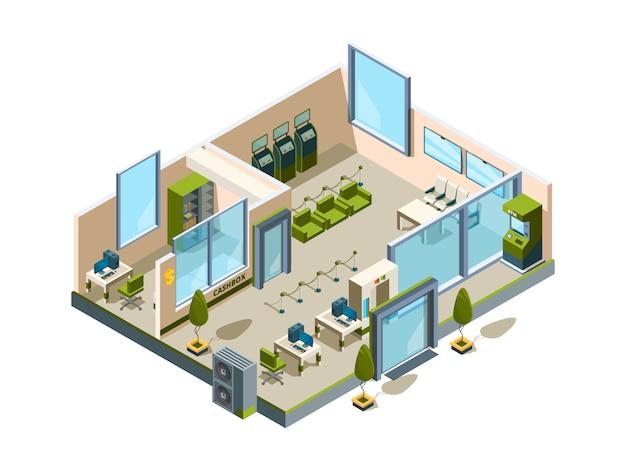 Банк изометрический. современное здание интерьер офиса открытое пространство банковское лобби сервисная комната для менеджеров 3d низкополигональная