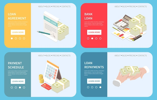 Bank loan applying online 4 isometric web pages with credit evaluation approval agreement payment schedule