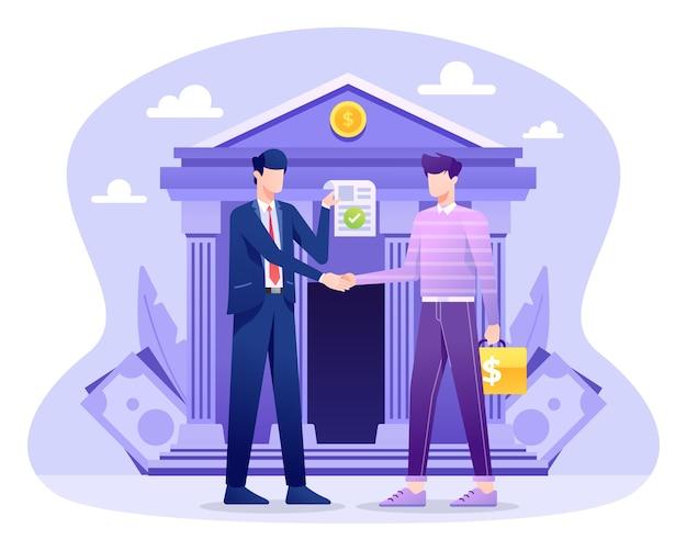 Иллюстрация банковского кредита, клиент подает заявку на получение кредита.