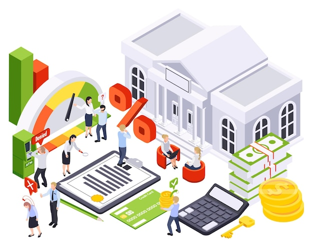 Bank loan isometric composition with icons of bar charts payment methods with bank building