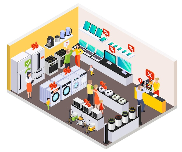 Bank loan isometric composition with view of consumer electronics store and home appliances