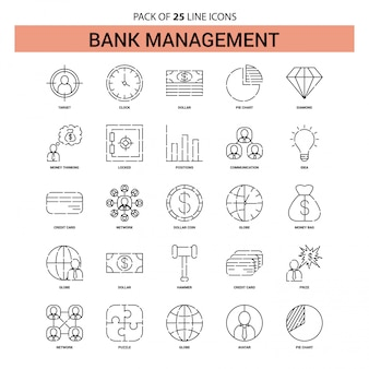 Bank management line icon set - 25 dashed outline style