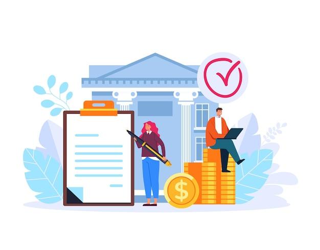 Bank management service concept flat graphic design illustration