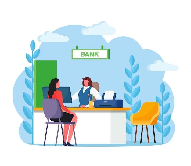 현금 또는 예금, 신용 운영에 대한 은행 관리자 컨설팅 클라이언트. 은행 직원, 고객과 함께 책상에 앉아 보험 대리인