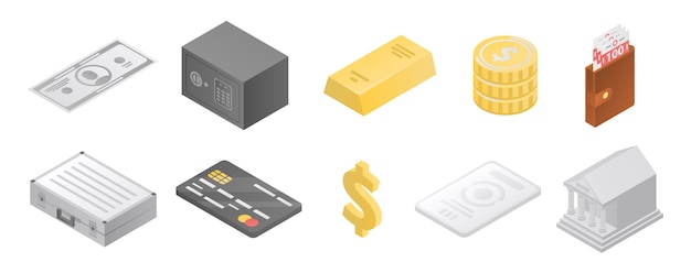 Bank metals icons set, isometric style