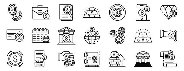 Bank metals icons set, outline style