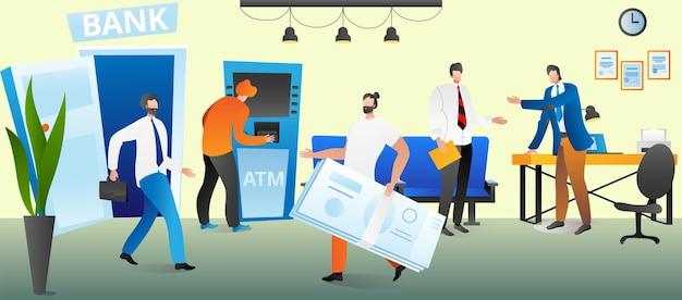 銀行のお金、金融サービスの概念、ベクトル図。フラットマンのキャラクターは、オフィスデザインで金融現金、銀行支払いを取得します。クライアントはatmで通貨を支払い、労働者は男性を助けます。