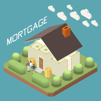Bank mortgage for buying home isometric composition with family in front of house from banknotes