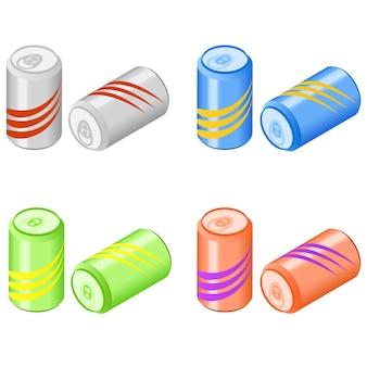 炭酸水のバンク。アイソメトリックソーダ。おいしい飲み物。レモネードの缶。ベクトルイラスト。