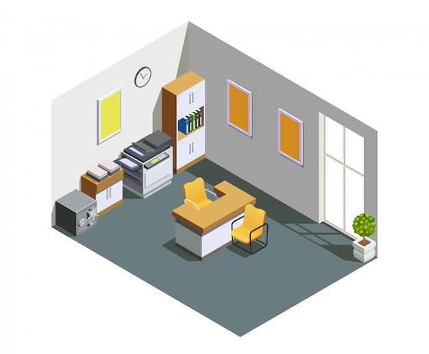 Bank office interior isometric composition