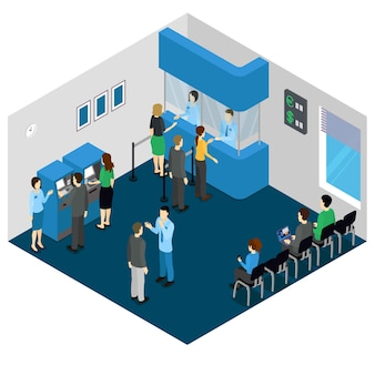 Bank office isometric concept