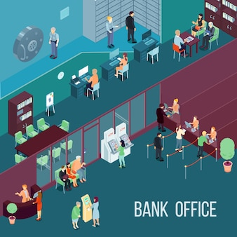 Bank office isometric illustration