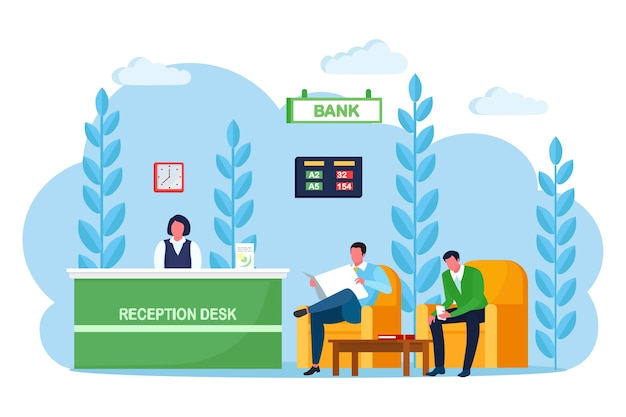 Bank office reception counter, desk with employee, manager consultant. banking branch interior. lobby or waiting room with soft armchair, cofee table financial consulting center. cartoon design