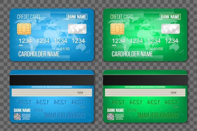 Bank plastic credit card two sides set.