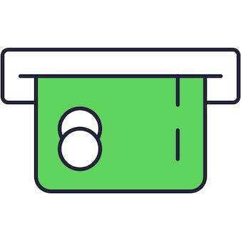 흰색 배경에 고립 된 atm 기계 벡터 아이콘을 통해 지불 및 돈 거래를 위한 은행 플라스틱 신용 카드 또는 직불 카드