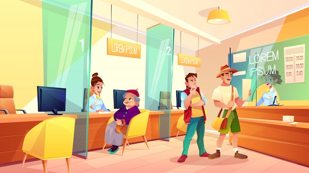 Bank reception area cartoon vector.