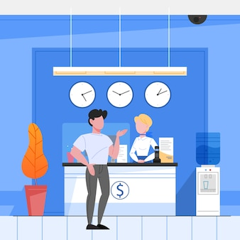 Bank reception concept. woker standing at the counter and helping a customer. financial operation in bank.  isometric illustration