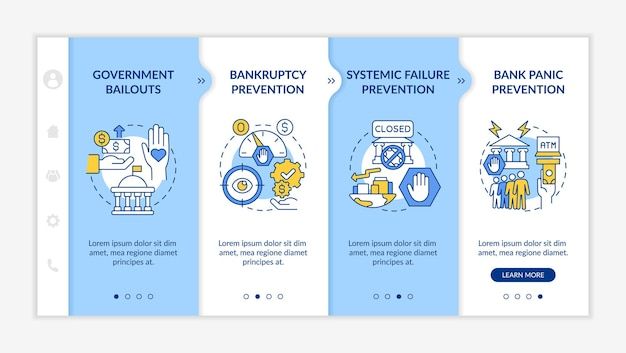 銀行規制オンボーディングベクターテンプレート。アイコン付きのレスポンシブモバイルサイト。 webページのウォークスルー4ステップ画面。線形イラストと政府の財政支援の色の概念