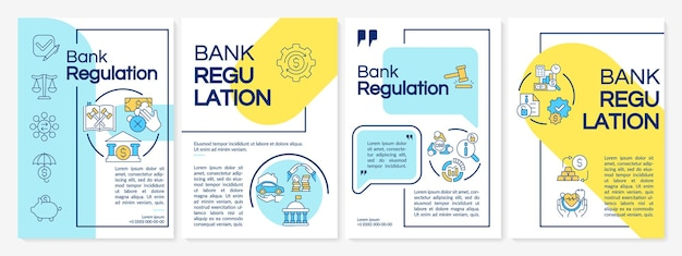 Bank regulation terms brochure template. monetary policy. flyer, booklet, leaflet print, cover design with linear icons. vector layouts for presentation, annual reports, advertisement pages