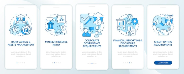Bank regulation terms onboarding mobile app page screen. capital management walkthrough 5 steps graphic instructions with concepts. ui, ux, gui vector template with linear color illustrations