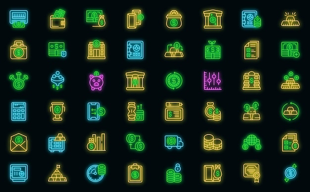 Bank reserves icons set. outline set of bank reserves vector icons neon color on black