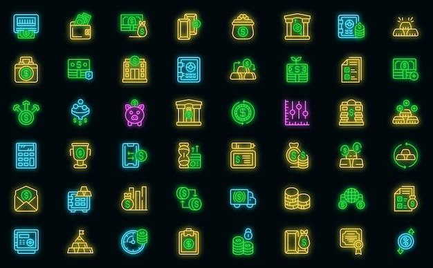 은행 준비금 아이콘을 설정합니다. 블랙에 은행 준비금 벡터 아이콘 네온 색상의 개요 세트