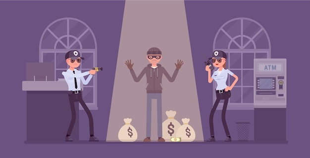 Bank robber caught by police illustration