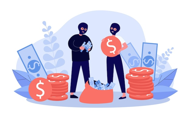 Bank robbers collecting cash illustration
