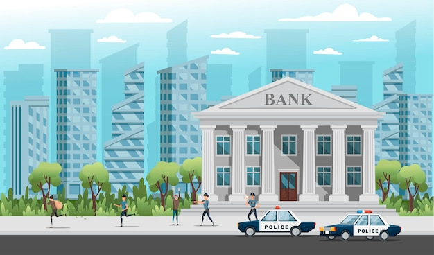Bank robbery the police are trying to catch the robbers vector illustration on modern city landscape