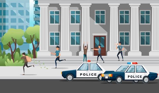 은행 강도 경찰은 현대 도시 풍경에서 강도 벡터 삽화를 잡으려고 노력하고 있습니다