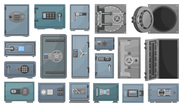 Bank safe cartoon set icon.