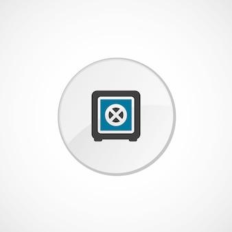 은행 금고 아이콘 2 색, 회색 및 파란색, 원형 배지