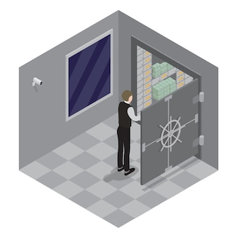 Bank safe. open door of the bank safe. bank vault. banker opens the safe with money. isometric bank.