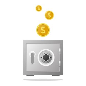 Moneysteelセーフボックス付き銀行金庫貯蓄ボックス