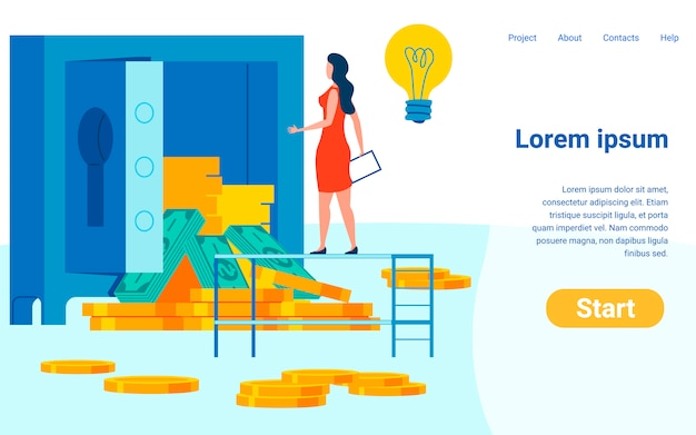 Bank savings flat vector landing page template