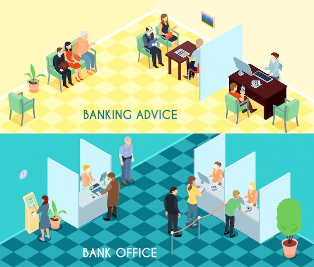 Bank service isometric banners