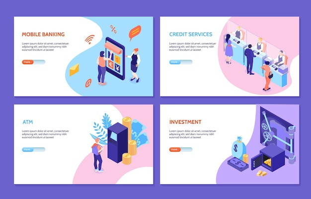 Bank service isometric set of mobile banking credit services investment atm illustration
