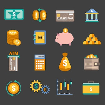 Bank service money icons set with money box storage card isolated vector illustration