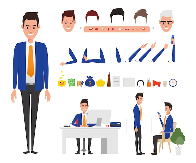 Bank staff manager character in bank office job.