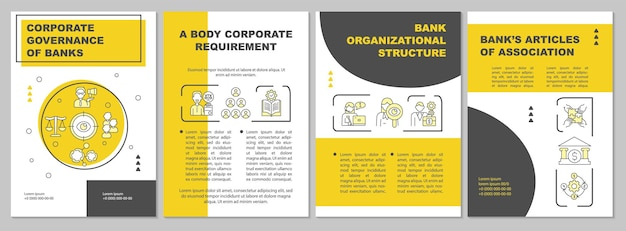 Bank structure brochure template. corporate governance. flyer, booklet, leaflet print, cover design with linear icons. vector layouts for presentation, annual reports, advertisement pages