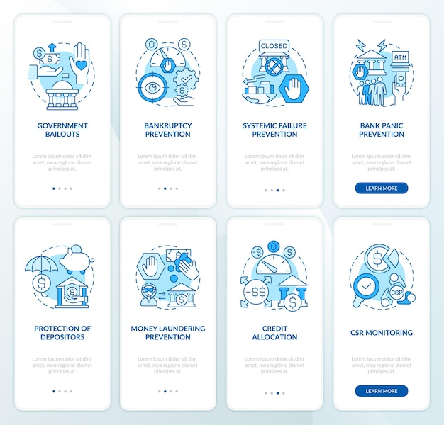 Bank supervision onboarding mobile app page screen set. crisis prevention walkthrough 8 steps graphic instructions with concepts. ui, ux, gui vector template with linear color illustrations