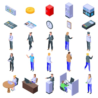 Bank teller icons set