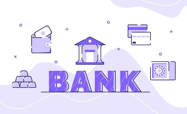 銀行のタイポグラフィワードアートの背景