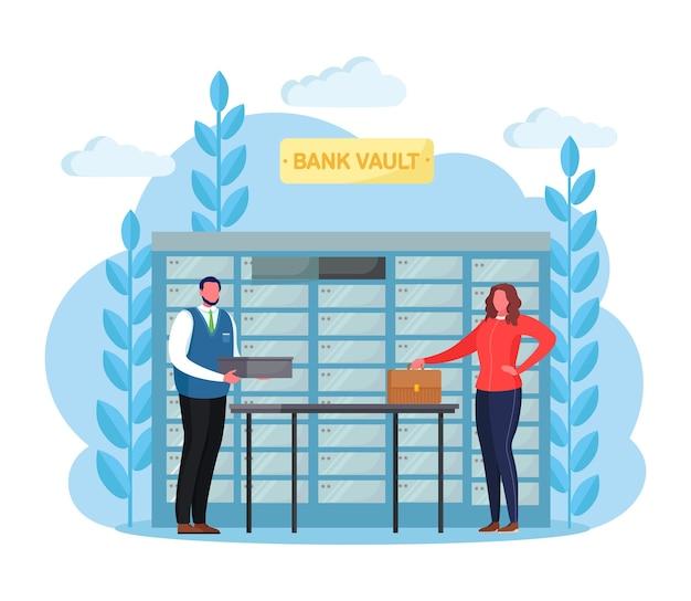 Банковское хранилище с сейфами. сотрудник банка, клерк, работающий с клиентом. мультфильм дизайн
