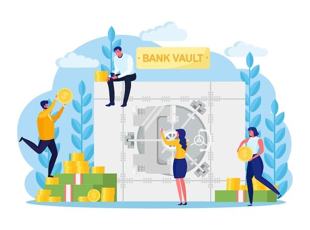 Bank vault with banker, employee, depositors. safe room door with lock system. money secure. banking storage isolated on white background. protection of deposit boxes, currency. flat design