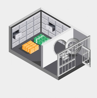 Bank vault with money and gold isometric  illustration