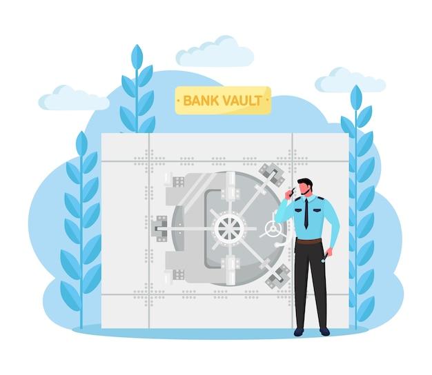 警備員がいる銀行の金庫室、ロックシステム付きの安全な部屋のドア。安全なお金。白い背景の上の銀行のストレージ。預金ボックス、通貨の保護。
