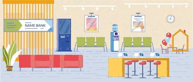 Банк visitors and clients интерьер с мебелью.
